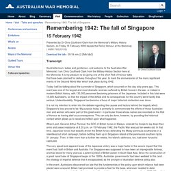 Remembering 1942: The fall of Singapore