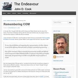 Remembering COM