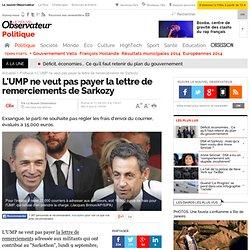L'UMP ne veut pas payer la lettre de remerciements de Sarkozy