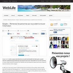 Google+ : Remerciez les personnes qui vous aident à trouver l'information