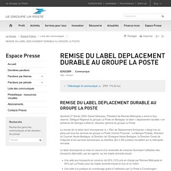 REMISE DU LABEL DEPLACEMENT DURABLE AU GROUPE LA POSTE