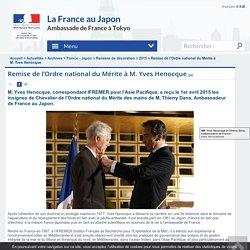 Remise de l'Ordre national du Mérite à M. Yves Henocque