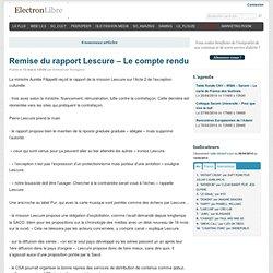 Remise du rapport Lescure – Le compte rendu