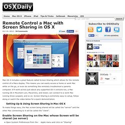 Remote Control a Mac with Screen Sharing in OS X