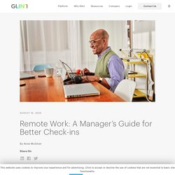 Remote Work: A Manager's Guide for Better Check-ins