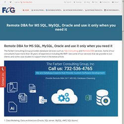 Remote DBA for MS SQL, MySQL and Oracle database , use it only when you need it