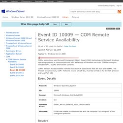 Event ID 10009 — COM Remote Service Availability