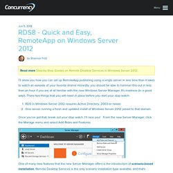RDS8 - Quick and Easy, RemoteApp on Windows Server 2012 - Concurrency