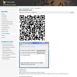 RemoteSensors - Firmware Encoding Index