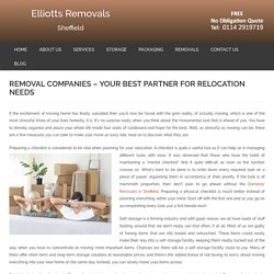 Best Removal Companies in Shaffield For Relocation Needs - Elliott's Removal