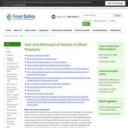FSAI 19/06/12 Use and removal of nitrite in meat products