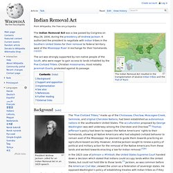 1830, Indian Removal Act