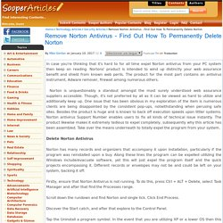 Remove Norton Antivirus - Find Out How To Permanently Delete Norton