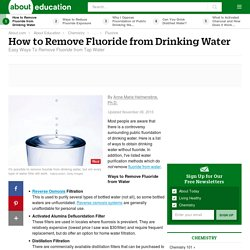 How to Remove Fluoride from Drinking Water