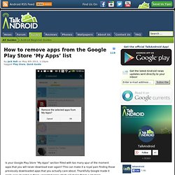How to remove apps from the Google Play Store 'My Apps' list
