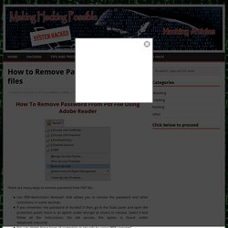 Remove password from pdf file using adobe reader