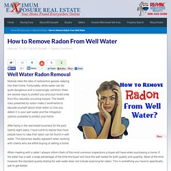 How to Remove Radon From Well Water