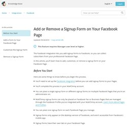 Add or Remove a Signup Form on Your Facebook Page