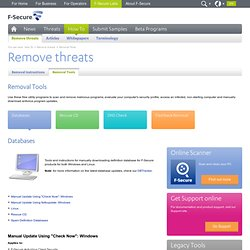 How To - Remove threats - Free Removal Tools