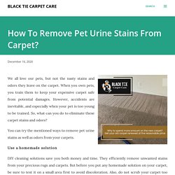 How To Remove Pet Urine Stains From Carpet?