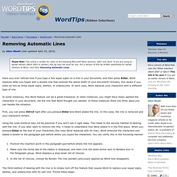 Removing Automatic Lines