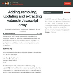 Adding, removing, updating and extracting values in Javascript array - Blogger Ever
