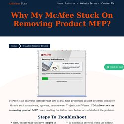Why My McAfee Stuck On Removing Product MFP?