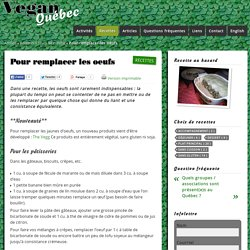 Pour remplacer les oeufs - Vegan Québec