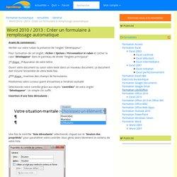 Word 2010 / 2013 : Créer un formulaire à remplissage automatique
