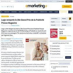 Lego remporte le 28e Grand Prix de la Publicité Presse Magazine