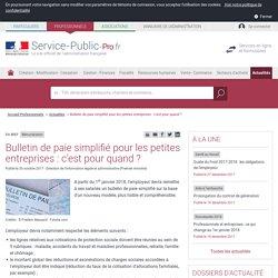 Rémunération -Bulletin de paie simplifié pour les petites entreprises : c'est pour quand? - professionnels
