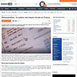 Rémunération : le salaire net moyen recule en France