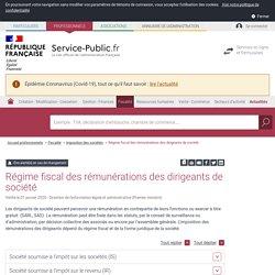 Régime fiscal des rémunérations des dirigeants de société - professionnels