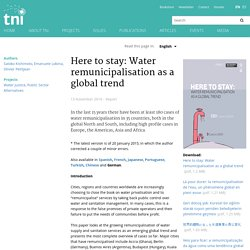 Here to stay: Water remunicipalisation as a global trend