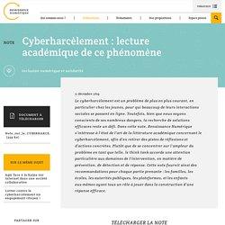 Cyberharcèlement : lecture académique de ce
