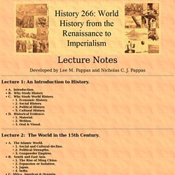 History 266: World History from the Renaissance to Imperialism--Lecture Notes