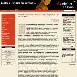 Seconde. Humanisme et Renaissance. Proposition de séquence - Lettres Histoire Géographie
