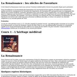 La Renaissance : les siècles de l'aventure