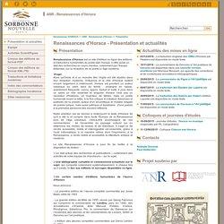 Renaissances d'Horace - Présentation et actualités