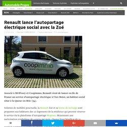 Renault lance l'autopartage électrique social avec la Zoé