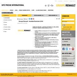 Groupe Renault : résultats financiers 2016