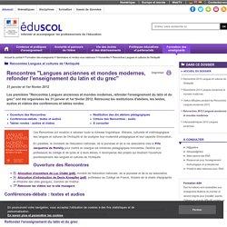 Rencontres Langues et cultures de l'Antiquité - Rencontres 2012 Langues anciennes et mondes modernes
