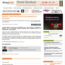 Actualitté 28/08 - Rennes : rencontres d'écrivains de septembre à décembre