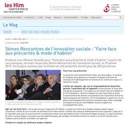 """5èmes Rencontres de l'innovation sociale : """"Faire face aux précarités & mode ..."""