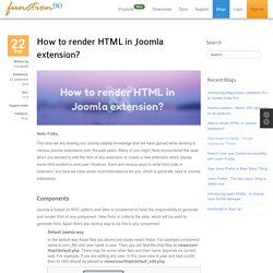 How to render HTML in Joomla extension?
