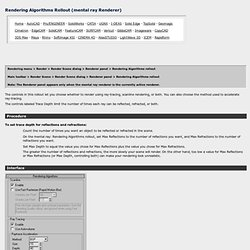 Rendering Algorithms Rollout (mental ray Renderer)