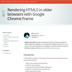 Rendering HTML5 in older browsers with Google Chrome Frame