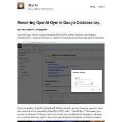 Rendering OpenAi Gym in Google Colaboratory. – StarAi – StarAi Applied Research Blog