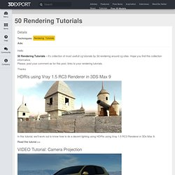 50 Rendering Tutorials - 3DExport's Blog – Buy 3D Models, Sell 3