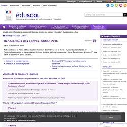 Rendez-vous des Lettres - Rendez-vous des Lettres 2016